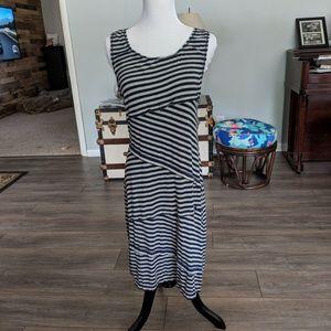 NWOT Max Studio Navy/ Gray Striped stretch dress